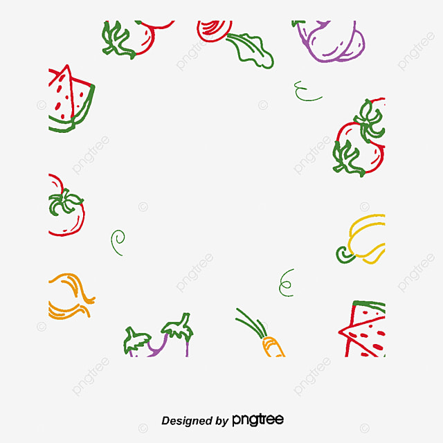 Line Drawing Vegetables : Fruits and vegetables vector cartoon line drawing border