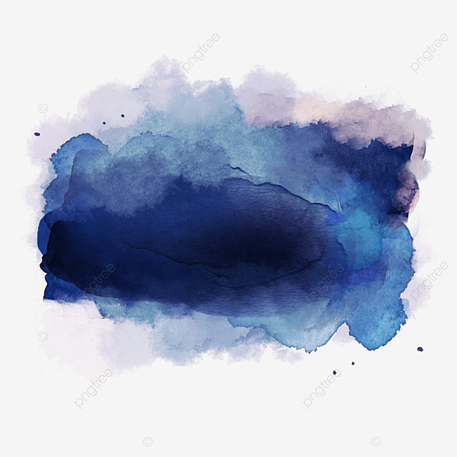 Blue Watercolor Effect Color Drawing Mark Strokes PNG Image And Clipart