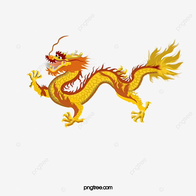 Golden Chinese Dragon, Chinese Style, Dragon, Golden PNG and PSD File for Free Download