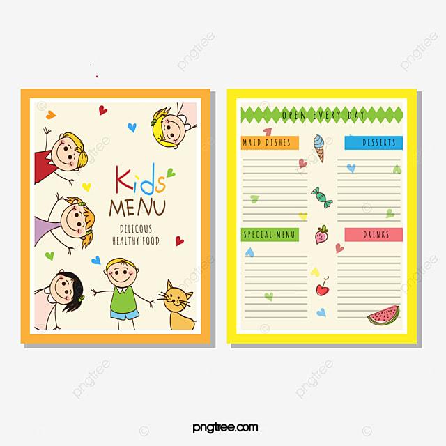 Vector Menu Para Niños, Menú De Niños, Menú De Dibujos Animados ...