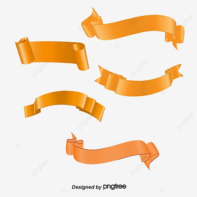 orange ribbon banner orange ribbon scroll png and vector for free rh pngtree com vector banner ribbon images vector ribbon banner template