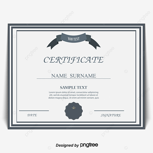 Commendation Certificates Vector Certificate Continental Simple