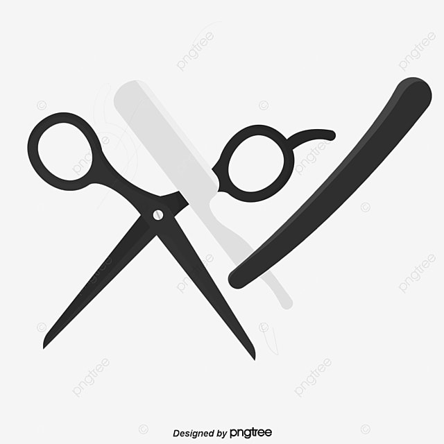 Vector Barber Tools Hand Painted Scissors Razor PNG And