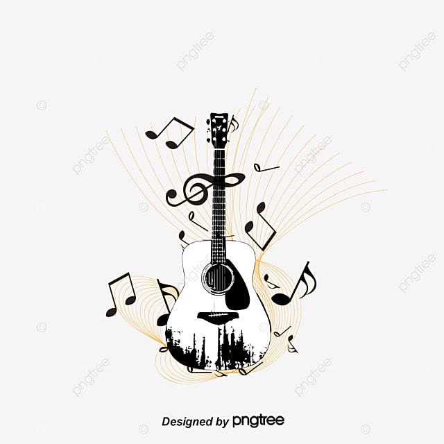 vector guitarra y notas musicales guitarra nota musica