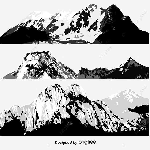 Line Drawing Mountain : Vector line drawing three big mountains mountain