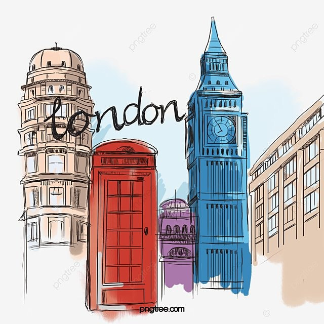 vector watercolor illustration london house city building png and