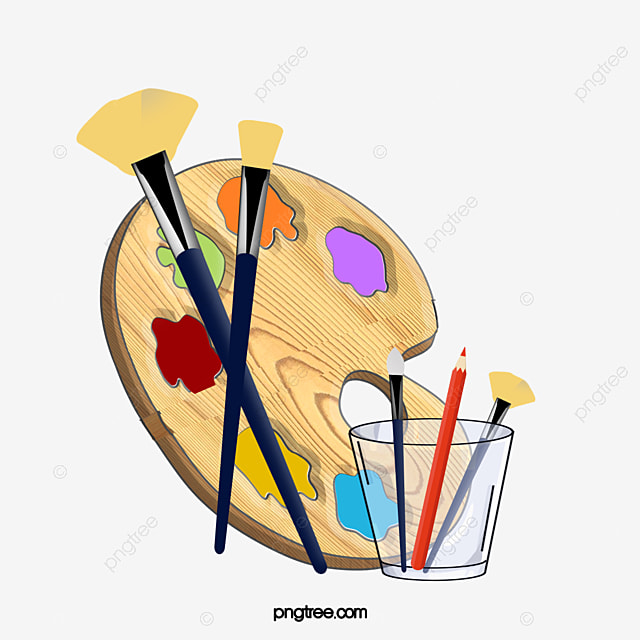 Palette And Brushes Brush Painting Oil PNG Image Clipart