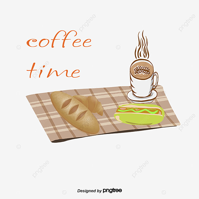 vector hand painted coffee and cake  coffee vector  cake breakfast clip art images Lunch Clip Art