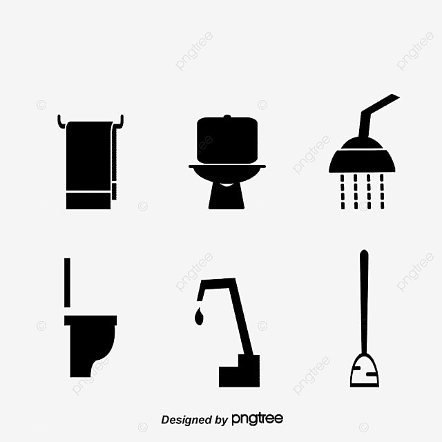 Bathroom Icons Vector Shower Head Towel Png And Vector For Free