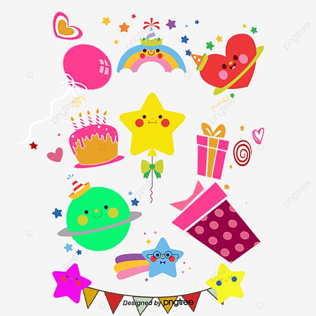생일 카드 만화 원소, 자유형 삽화, 만화 카드 표지, 삽화 디자인