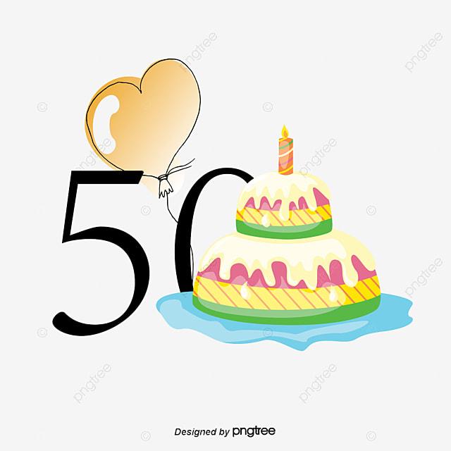 50th Anniversary Birthday Vector, Birthday Clipart