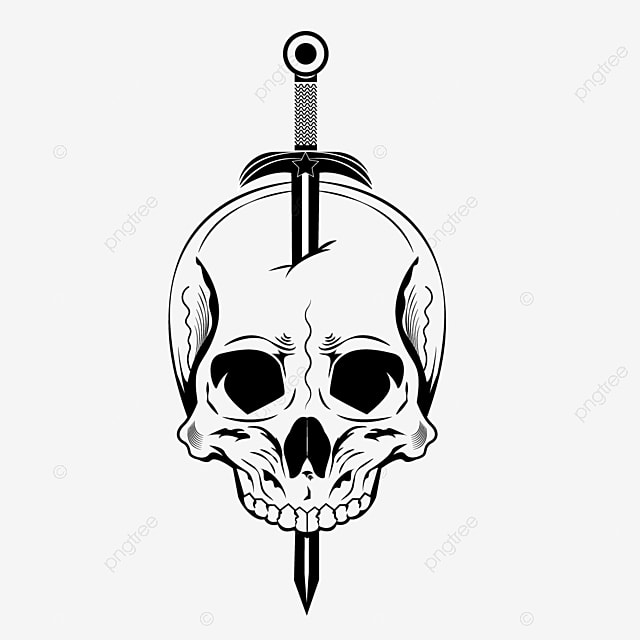 Skull Sword Inserted In The Vector Set Business