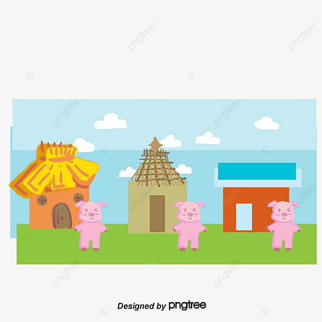 Tres cerditos cartoon illustration vector ni o material for Costruendo su a casa mia