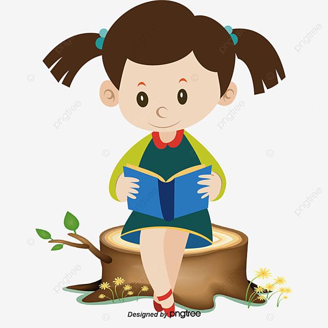 Vector cartoon girl reading, Reading, Book, Girl PNG and Vector