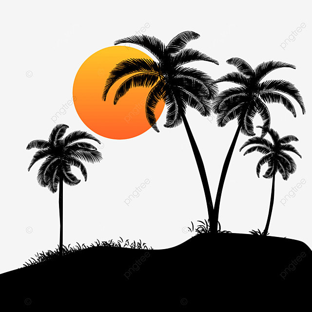 palm trees on the beach  sun  vector  palm tree png and clip art palm tree black and white clip art palm trees