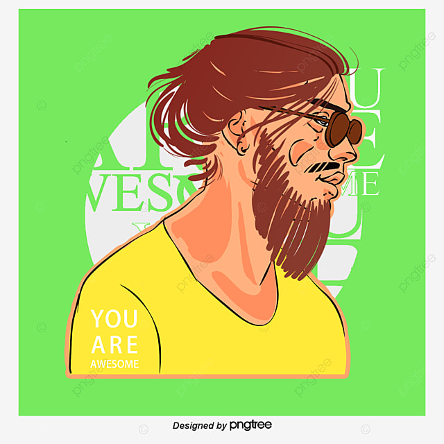Vector Man With Long Hair Rolled Up Man Vector Hair Vector The
