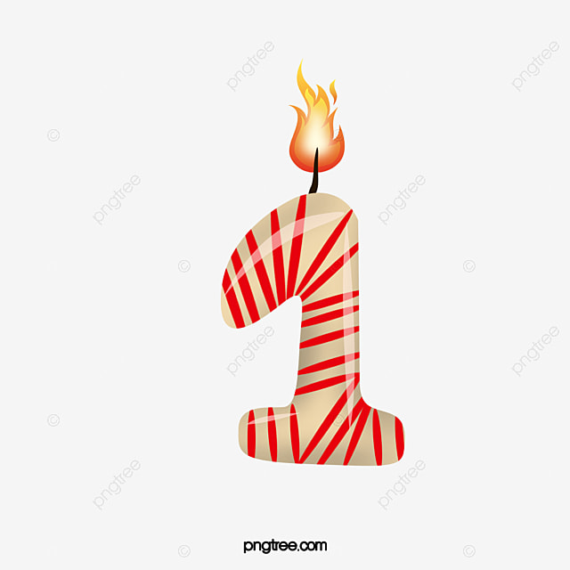 Birthday Candle Number 1 Clipart PNG Image And