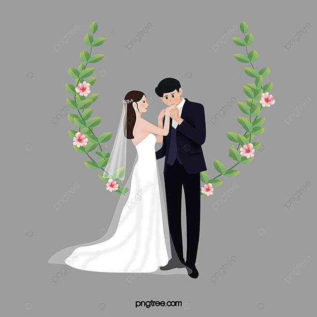 Vector Western Style Wedding Men And Women Clipart Bridegroom Bride PNG