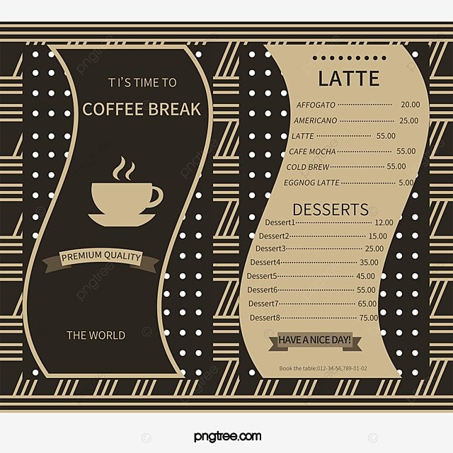 Cafe Menu Png Images  Vectors And Psd Files  Free Download On Pngtree