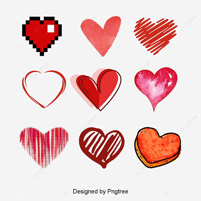 Vector Hand Drawn Heart Heart Clipart Vector Hand Painted Png And