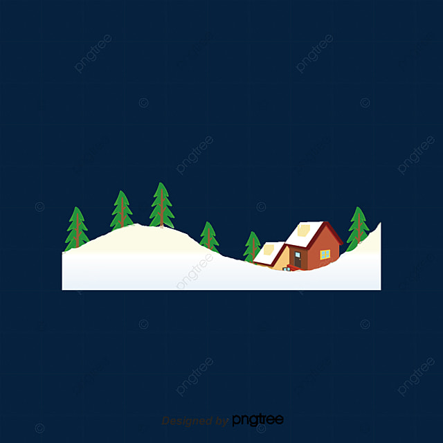 winter scene snow christmas tree cartoon house png and psd file