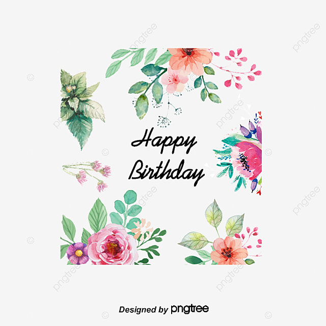 Vector Flowers Greeting Cards Watercolor Style Birthday Card Element PNG