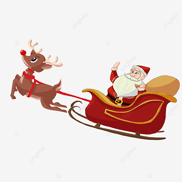 Christmas clipart santa sleigh - Pencil and in color christmas ...