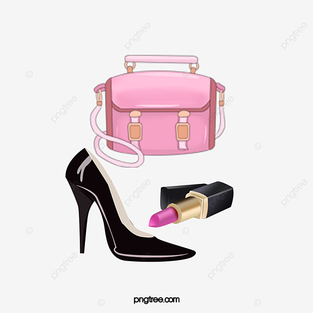 Hand Painted Watercolor Bags Shoes Lipstick Watercolor Clipart