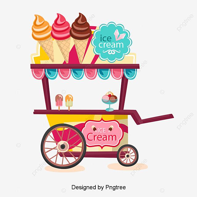 Ice Cream Cart Vector Ice Cream Ice Cream Summer Png