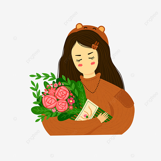 Foreign woman holding roses Free PNG and Clipart