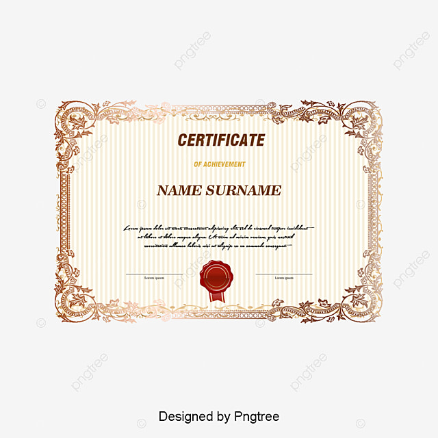Vector European Certificate Certificate Vector Certificate Honor