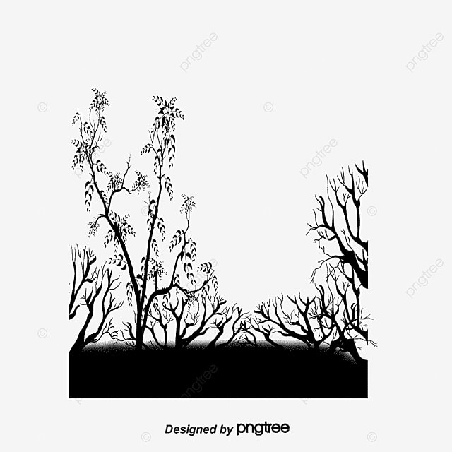 Trees faint crow black and white simple branches png and psd