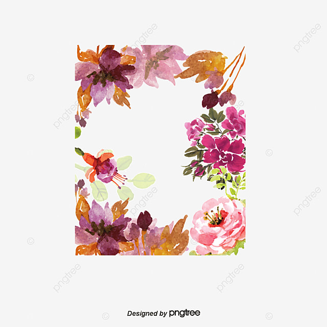 watercolor flowers border vector watercolor pretty