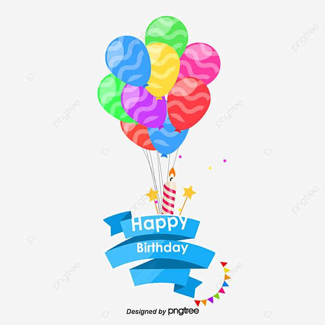 vector cartoon birthday balloons birthday balloons cartoon rh pngtree com cartoon birthday cake and balloons cartoon birthday balloons and presents