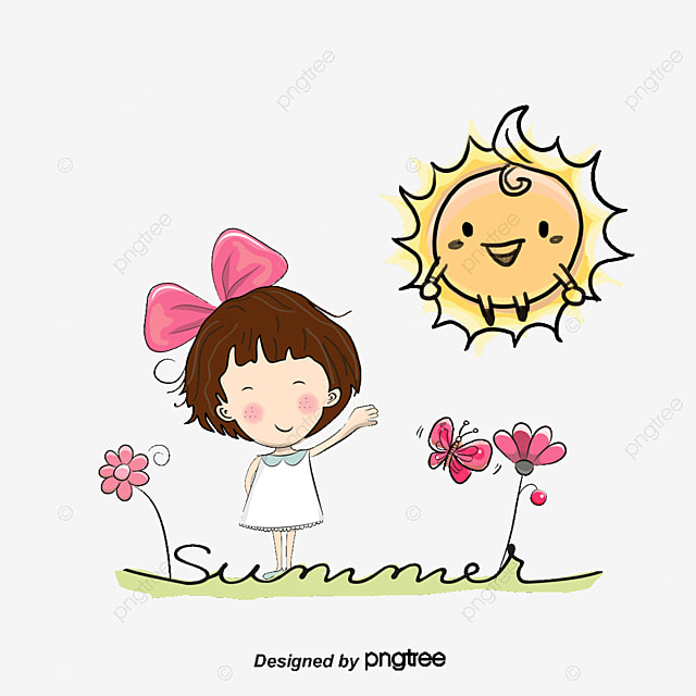 Vector Sun And Girl, Girl, Character, Cartoon Characters PNG