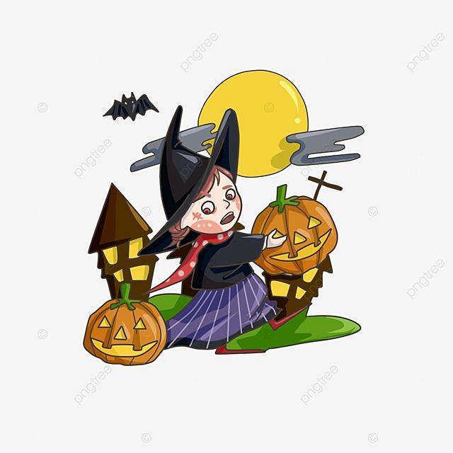 bruxa do dia das bruxas dos desenhos animados preto laranja a bruxa
