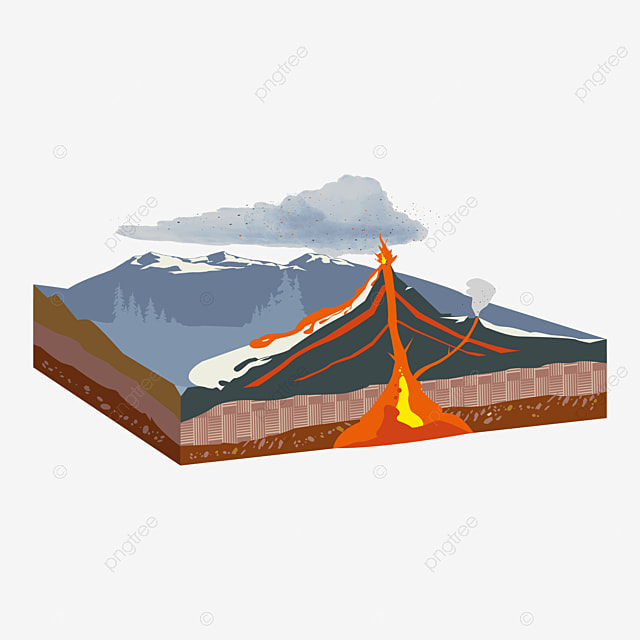 Free Vector   Volcano background coming out of a book