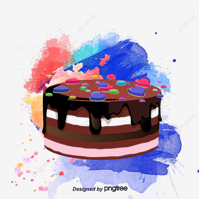 Hand-painted watercolor cake, Watercolor Delicious Cake, Cake, Elegant Watercolor PNG and Vector