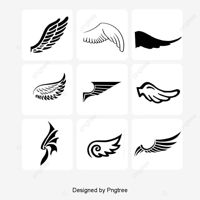 black wings logo elements vector decoration logo png