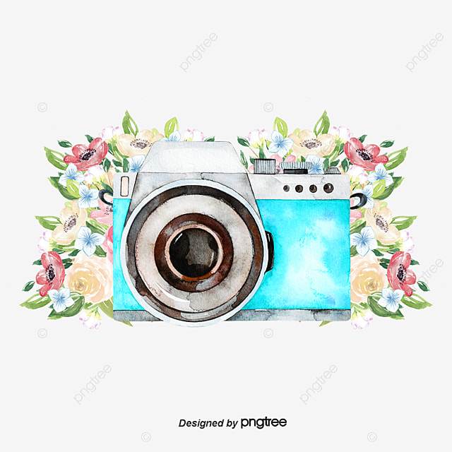 Vector White Camera Clipart Hand Painted Cartoon Polaroid PNG And