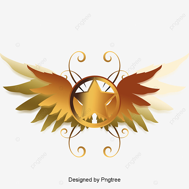 golden wings logo decoration vector wing png and vector