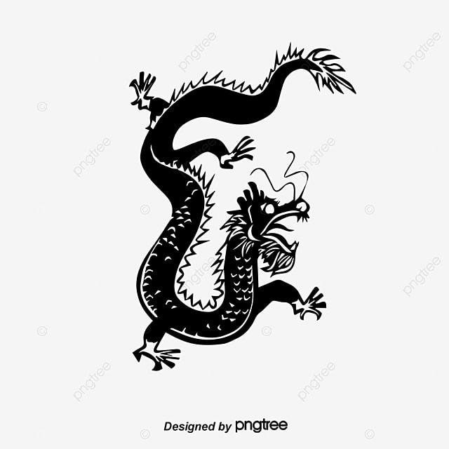 Dragón Chino Estilo Chino Vector Blanco Y Negro Png Y Vector Para