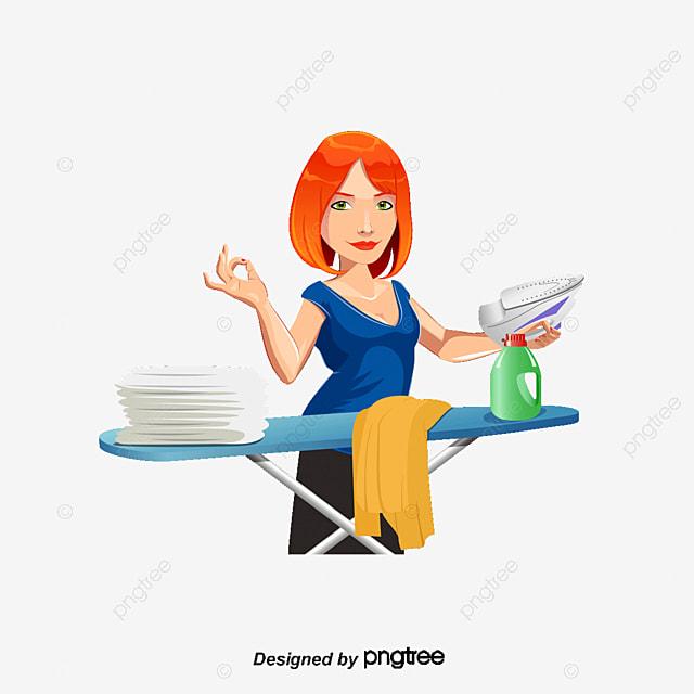 Ama de casa planchar la ropa decoracion vector - Planchado de ropa ...