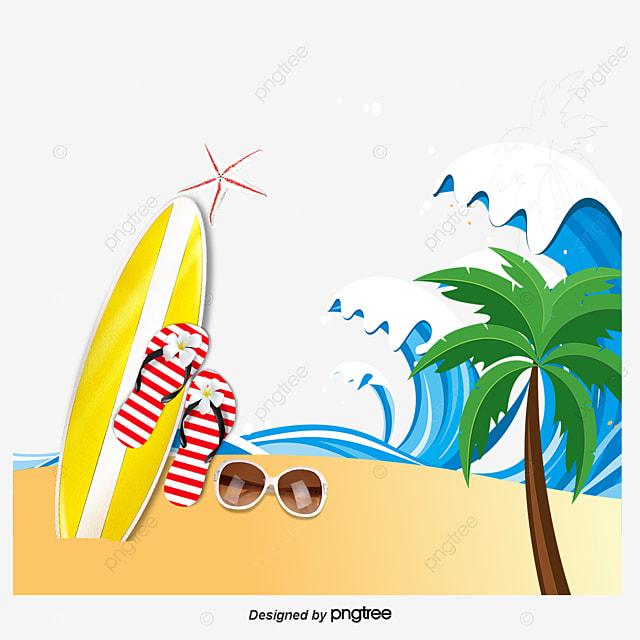 Tabla de surf y playa vector tabla de surf playa de - Dibujos para tablas de surf ...