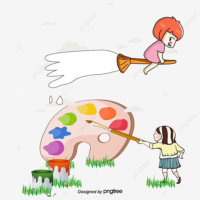 Vector De Dibujos Animados Para Los Niños A Aprender A Pintar, Los ...