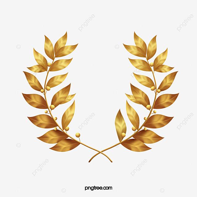 Golden Laurel Leaves Golden Lauryl Gold Leaf Png Image