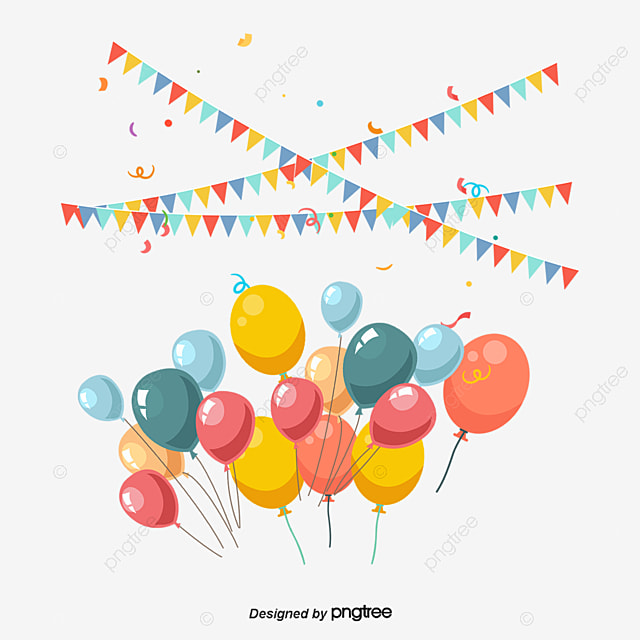 vector bunting and balloons birthday party decoration bunting rh pngtree com party vector free download party vector free download