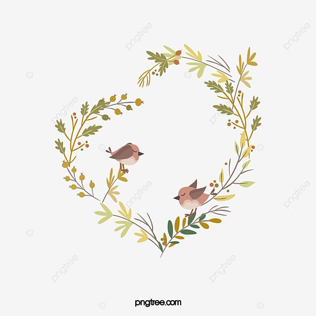 Heart Shaped Flower Vine Romantic Elements Love Birds