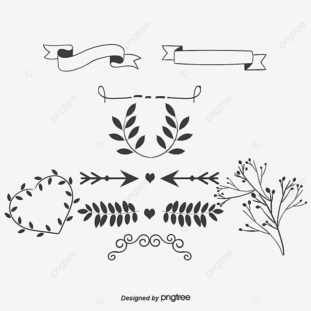 Vecteur de feuilles et de ruban noir les feuilles dessin - Dessin banderole ...