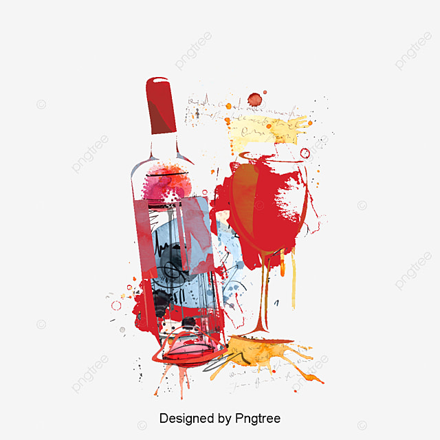 Watercolor wine glass and bottle pino decoration vector for Easy break glass bottles